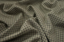 Tkania sukienkowa w beżowo-czarną kratkę