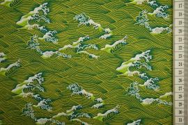 Bawełna drukowana - zielone fale
