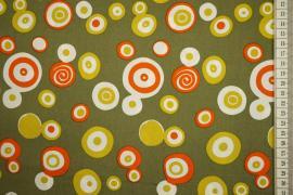 Bawełna drukowana w kolorze zgniłej zieleni w kółka