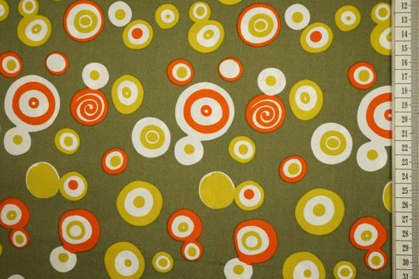 Bawełna drukowana w kolorze zgniłej zieleni w kolorowe kółka