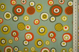 Bawełna drukowana w kolorze seledynowym w kółka