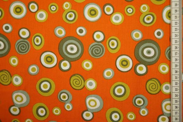 Bawełna drukowana w kolorze pomarańczowym w kolorowe kółka