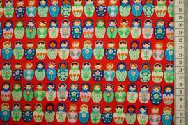 Bawełna drukowana - matrioszki na czerwonym tle