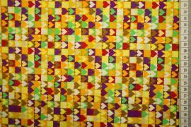 Bawełna drukowana w wielokolorowe serduszka
