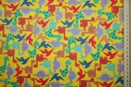 Bawełna drukowana w kolorze żółtym w dinozaury