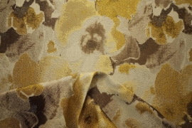 Tkanina tapicerska w złote i brązowe plamy