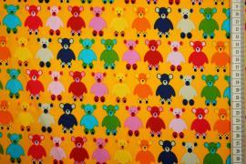 Bawełna drukowana - misie na pomarańczowym tle