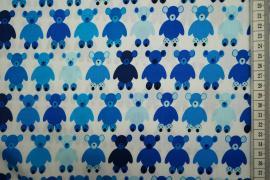 Bawełna drukowana w niebieskie misie