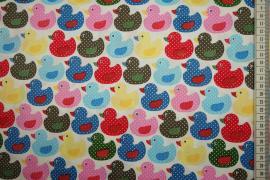 Bawełna drukowana w kolorowe kaczki