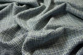 Tkanina wełniana z poliestrem w niebiesko-biały-żółty splot