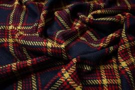 Tkanina wełniana z poliestrem w granatowo-czerwono-żółtą kratę