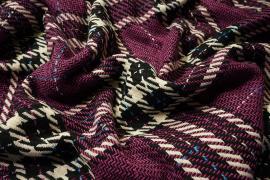 Tkanina wełniana z poliestrem w śliwkowym kolorze