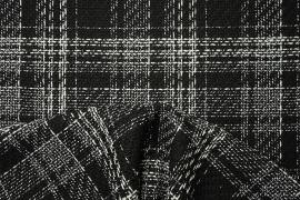 Tkanina wełniana z poliestrem w czarno-białą kratę