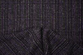 Tkanina wełniana z poliestrem w kolorze fioletowym, grafitowym i czarnym