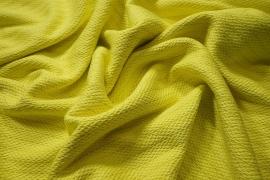 Tkanina wełniana w kolorze żółtym z prążkiem
