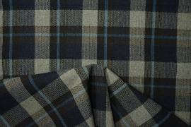 Tkanina wełniana w kratkę - granatowy, szary i niebieski