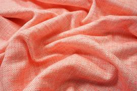 Tkanina wełniana w kolorze łososiowym ze złotą nicią