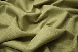 Tkanina wełniana w kolorze pastelowej zieleni ze złotą nitką