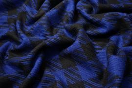Tkanina wełniana w czarno-chabrową kratkę