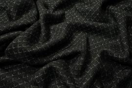 Tkanina wełniana w kolorze czarnym z białą kratką