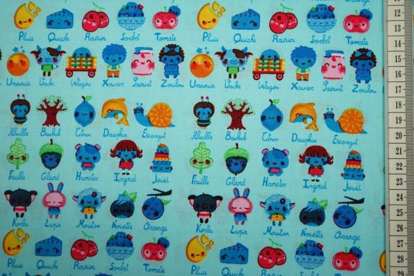 Bawełna drukowana w kolorze turkusowym w stworki