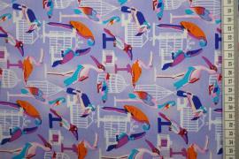 Bawełna drukowana w kolorze niebieskofioletowym w ptaki