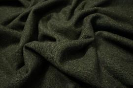 Tkanina wełniana w kolorze ciemnozielonego melanżu