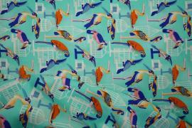 Bawełna drukowana w kolorze turkusowym w ptaki