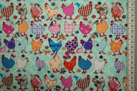 Bawełna drukowana w kolorze seledynowym w kurczaki