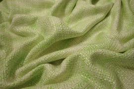 Tkanina wełniana w kolorze seledynowym ze złotą nitką
