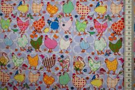 Bawełna drukowana w kolorze lilowym w kurczaki