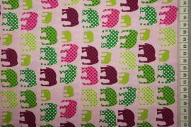 Bawełna drukowana w kolorze różowym w słonie