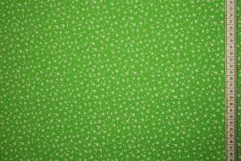 Bawełna drukowana w kolorze zielonym w białe kwiatki