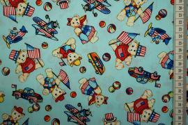Bawełna drukowana w kolorze turkusowym w misie
