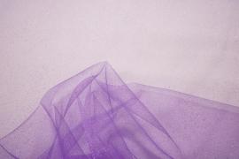 Tiul brokatowy w kolorze lilowym