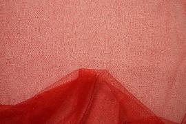 Tiul brokatowy w kolorze czerwonym