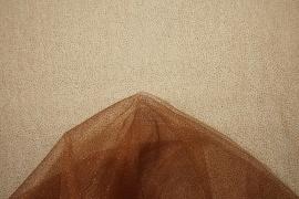 Tiul brokatowy w kolorze jasnobrązowym