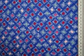 Bawełna drukowana - kwadraty na jasnogranatowym tle