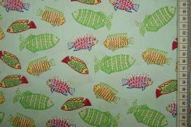 Bawełna drukowana w kolorze seledynowym w rybki