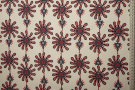 Tkanina regionalna w kolorowe parzenice na tle ecru