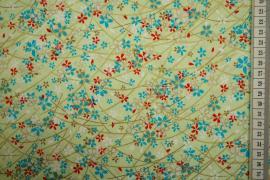 Bawełna drukowana w kolorze miętowym w kwiaty