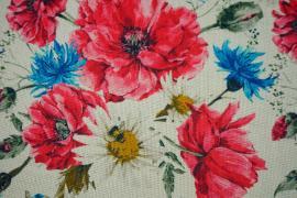 Tkanina lniana - kolorowe kwiaty