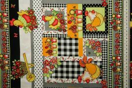 Bawełna drukowana - pomarańczowe kurczaki