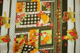 Bawełna drukowana - pomarańczowe kurki