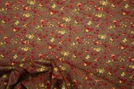 Bawełna drukowana w żółte i czerwone kwiaty