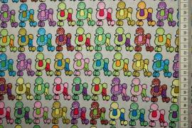 Bawełna drukowana w kolorowe pudle