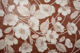 Cerata w kwiaty na brązowym tle