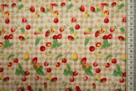 Bawełna drukowana w kratkę z owocami