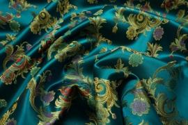 Żakard w kolorze turkusowym