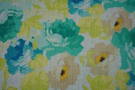 Tkanina lniana - pastelowe kwiaty
